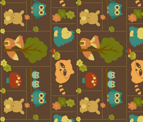 Cuddly Woodland Animal Bricks LARGE ROTATED fabric by saraink on Spoonflower - custom fabric