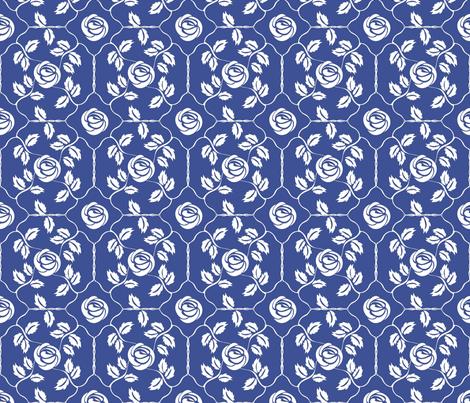 Delft Rose - White fabric by kristopherk on Spoonflower - custom fabric