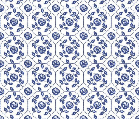 Delft Rose - Blue fabric by kristopherk on Spoonflower - custom fabric