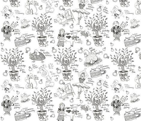 My True Love Toile  fabric by asilo on Spoonflower - custom fabric