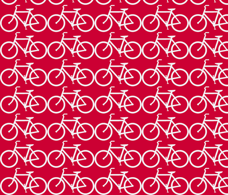 bicycle symbol red and white fabric by luluhoo on Spoonflower - custom fabric