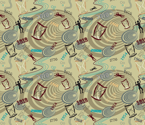 Time Travel  Multi-colored fabric by vinpauld on Spoonflower - custom fabric