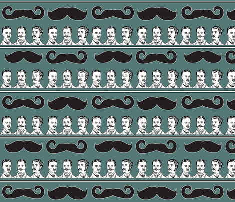 Mustache Stripe! fabric by haplesschyld on Spoonflower - custom fabric