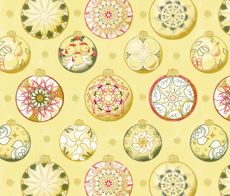 Twelve Days of Christmas Ornaments in Color - © Lucinda Wei fabric by lucindawei on Spoonflower - custom fabric