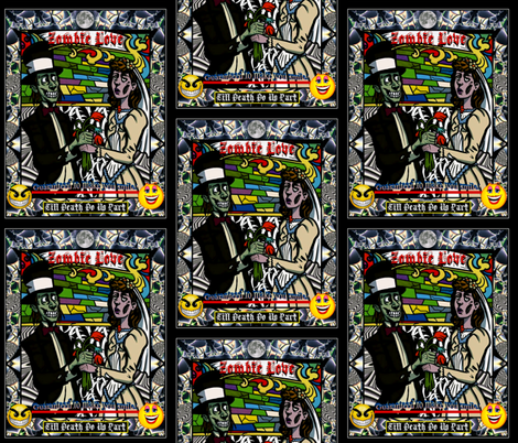 Zombie Love fabric by whimzwhirled on Spoonflower - custom fabric