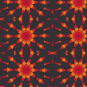 mandala fire bursts in charcoal - charcoal black with red,yellow, orange