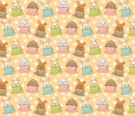 Buns in Teacups fabric by greencouchstudio on Spoonflower - custom fabric