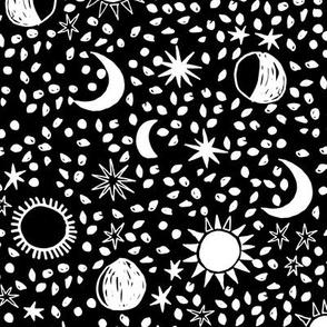 Sun, Moon, Stars - B/W by Andrea Lauren