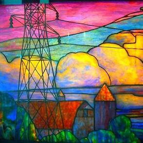 Stained glass farm scene