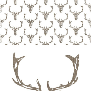 """Wild Welsh Stag 18"""" x 18"""" square - white"""