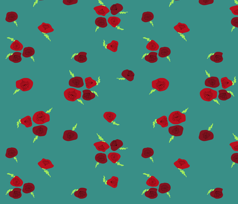 Poppies (blue) fabric by leighr on Spoonflower - custom fabric