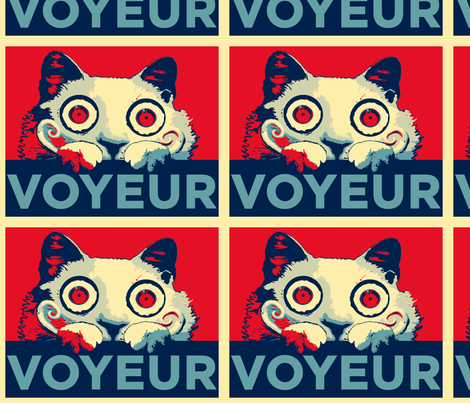 VOYEUR CAT Propaganda Large Size fabric by kitcameo on Spoonflower - custom fabric