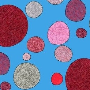 red and gray dots in blue