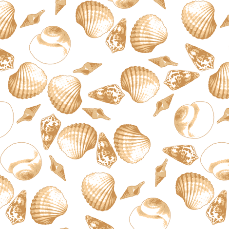 Shell-Mell - Biscuit-White fabric by inscribed_here on Spoonflower - custom fabric