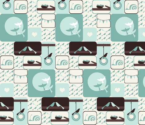 Bird Boxes fabric by ttoz on Spoonflower - custom fabric