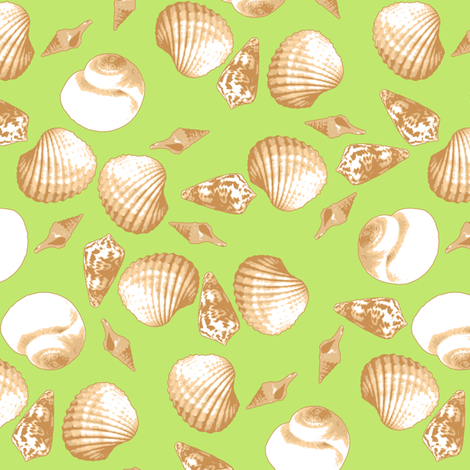 Shell-Mell - Biscuit-Seaweed fabric by inscribed_here on Spoonflower - custom fabric