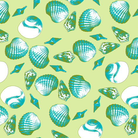 Shell-Mell - Tropical Seas-Seaweed fabric by inscribed_here on Spoonflower - custom fabric
