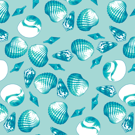 Shell-Mell - Tropical Seas fabric by inscribed_here on Spoonflower - custom fabric