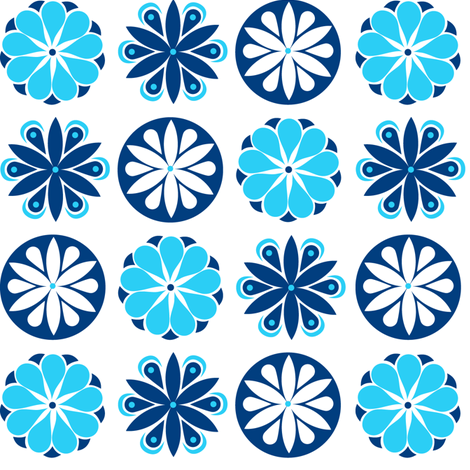 Winter Flowers in Blue fabric by havemorecake on Spoonflower - custom fabric