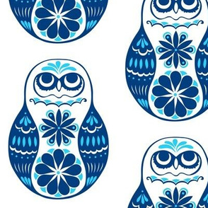 Flower Owls, Solo, in Blue