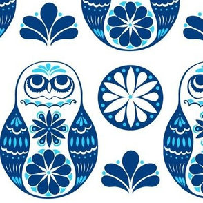 Flower Owls in Blue