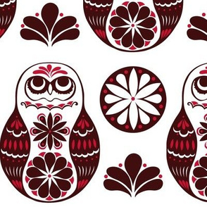 Flower Owls in Red