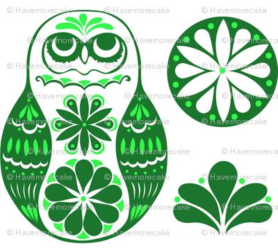 Flower Owls in Green
