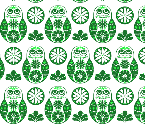 Flower Owls in Green fabric by havemorecake on Spoonflower - custom fabric