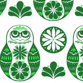 Flower Owls in Green