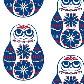 Flower Owls, Solo, in Blue and Red