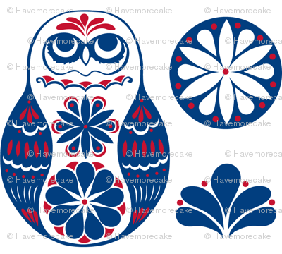 Flower Owls in Blue and Red