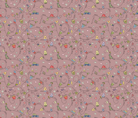 Dreamy houses in darkoldpink fabric by catru on Spoonflower - custom fabric