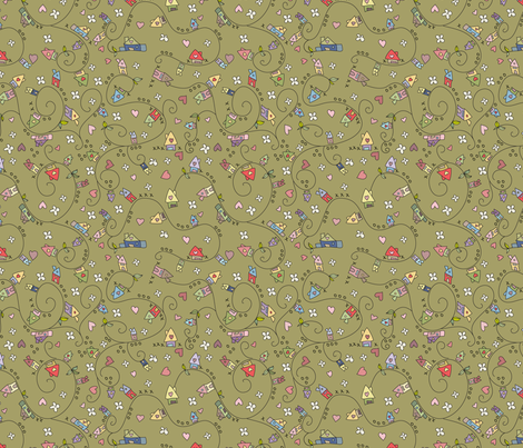 Dreamy houses in green fabric by catru on Spoonflower - custom fabric