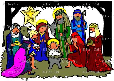 Nativity Scene (repeat, colored)