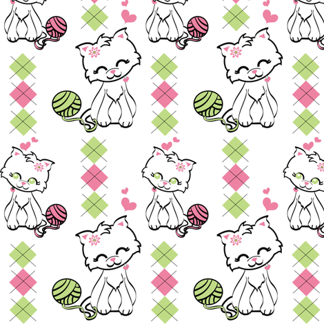 Preppy Kitty fabric by kiwicuties on Spoonflower - custom fabric