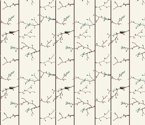 Bird Forest - Blue fabric by ttoz on Spoonflower - custom fabric