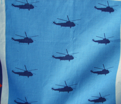 Helicopter: blue on light blue
