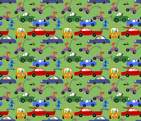 Wheelie! Dogs on wheels. fabric by vo_aka_virginiao on Spoonflower - custom fabric
