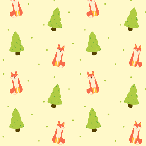Foxie Forest fabric by featheredneststudio on Spoonflower - custom fabric