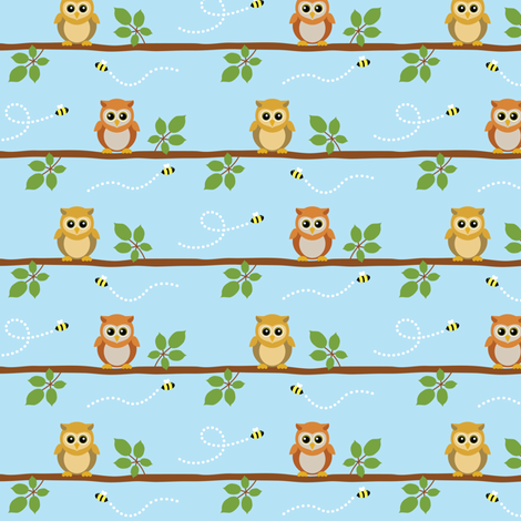 (Medium) Owls and Bees fabric by greencouchstudio on Spoonflower - custom fabric