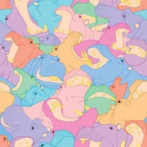Laughing Hippos - Pastel