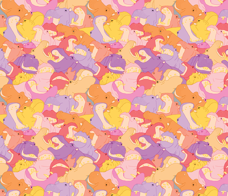 Laughing Hippos - warm colours fabric by hippopottermiss on Spoonflower - custom fabric