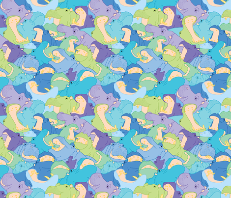 Laughing Hippos - Cool Colours fabric by hippopottermiss on Spoonflower - custom fabric