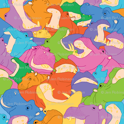 Laughing Hippos - Bright Colours