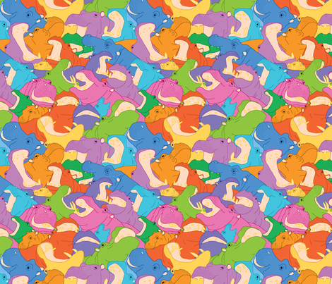 Laughing Hippos - bright colours fabric by hippopottermiss on Spoonflower - custom fabric