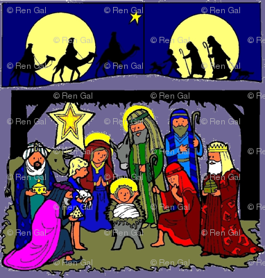 Nativity Scene with Traveling Kings & Shepherds (purp bg)
