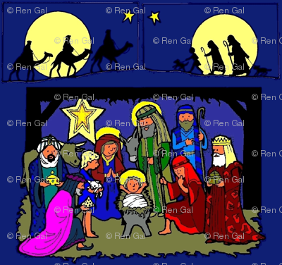 Nativity Scene with Traveling Kings & Shepherds (blue bg)