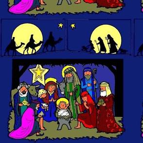 Nativity Scene with Traveling Kings & Shepherds (blue bg)