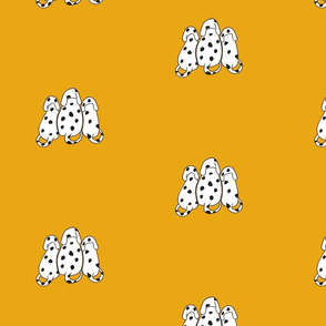 Dalmatians on yellow