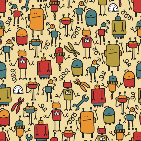 Retro_robot. fabric by panova on Spoonflower - custom fabric